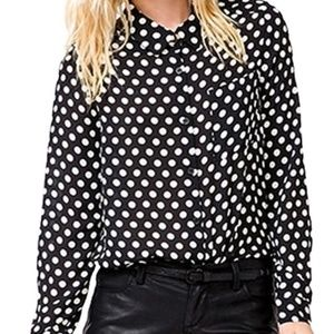 Forever 21 Semi sheer Poka Dot button up Shirt